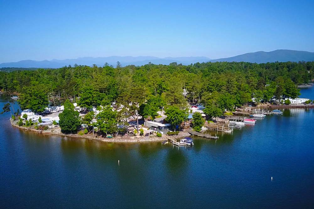 aerial view of Lake James Camping resort and marina